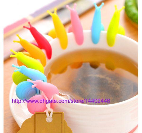 top popular Randome Color!! 1000 PCS Cute Snail Shape Silicone Tea Bag Holder Cup Mug Candy Colors Gift Set GOOD 2019