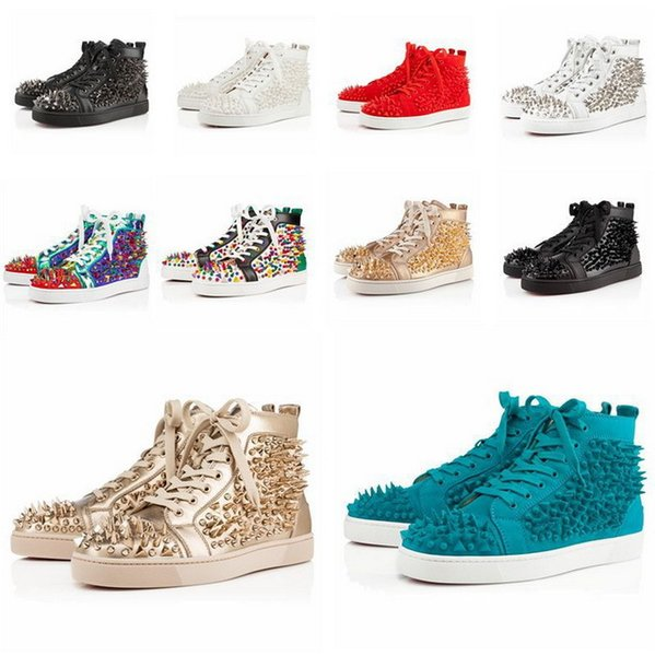 colorful spikes pik pik Red Bottom Shoes Men women High-Top mixed Studded studs casual shoes flat Genuine Leather
