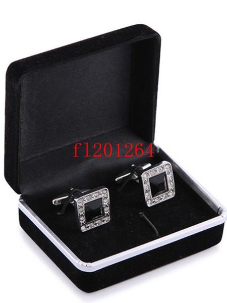 top popular 100pcs lot Free Shipping Hot sale Wholesale Promotion Black Velvet Cufflink Box Best gift jewelry box for Cufflinks 2021