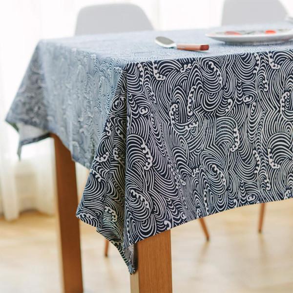 60x60-140x250cm linen Japanese style Sea waves Fish scales Table Cloth Pastoral Multi-dust tablecloths Manteles Tablecloths Rectangular Tabl