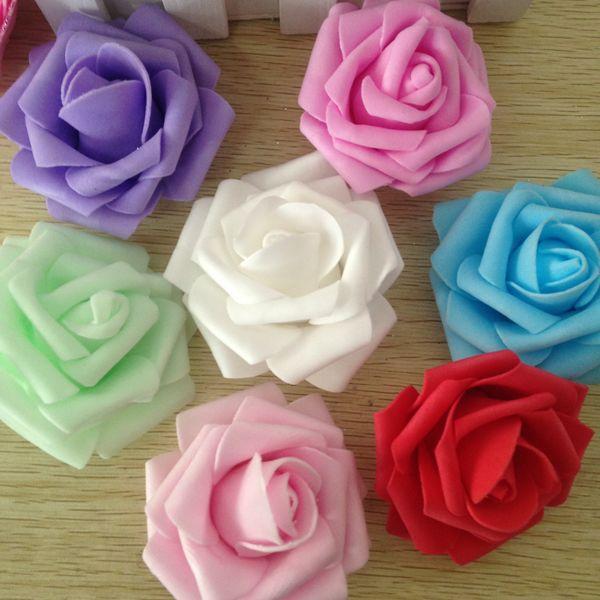Wholesale 7CM Wedding Handmade Foam Rose rosebud Artificial Rose Flower Home Wedding Room Decoration 10colors (100pcs/Bag)