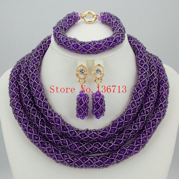 Fashion African Beads Jewelry Sets 2016 Nigerian Wedding Handmade Acrylic Beads Indian Multilayer Statement Necklace Earrings ST304-5