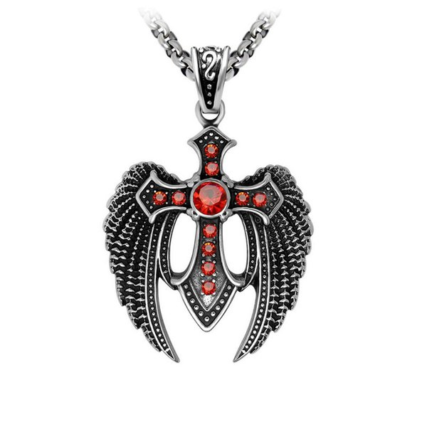 Men's vintage the shape of the eagle stainless steel pendants fashion red zircon titanium steel pendant necklaces jewelry accessories