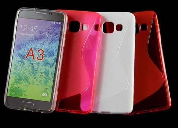 For Samsung Galaxy A3 A5 A7 S Wave Line TPU Soft Gel Rubber Candy Color Phone Case For Samsung A3000 A5000 A7000