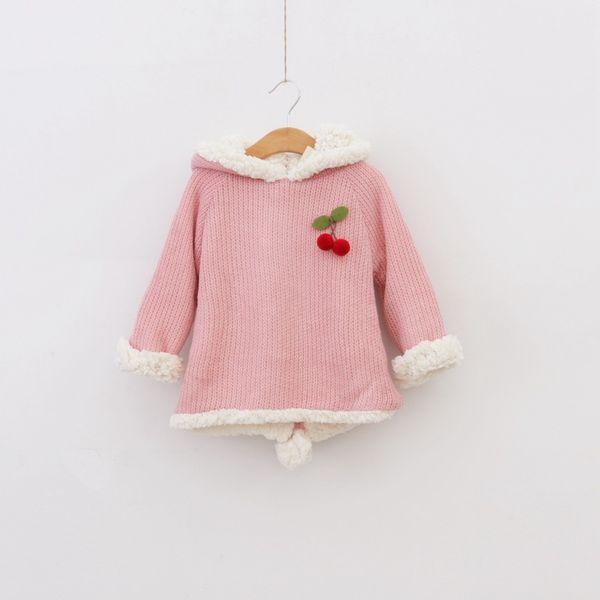 Wholesale-2015 New winter wool coat for girls thickening cartoon rabbit woollen sweater fleece girl hoodies free shipping