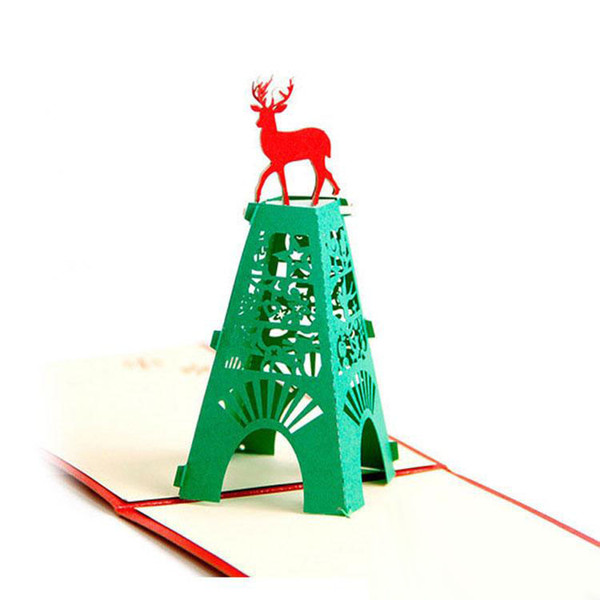 Free Shipping New Christmas 3D Pop Up Cards Christmas Deer Handmade Kirigami & Origami Greeting Cards hot