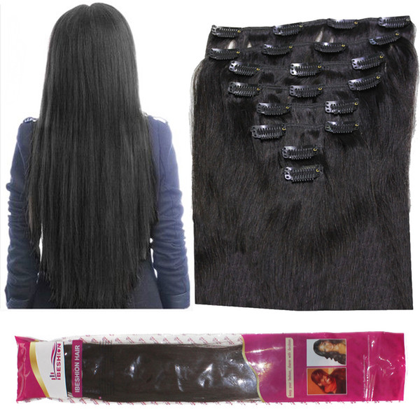 8a 120g lot clip in human hair exten ion brazilian traight 8pc et 1b natural black wavy curly hair