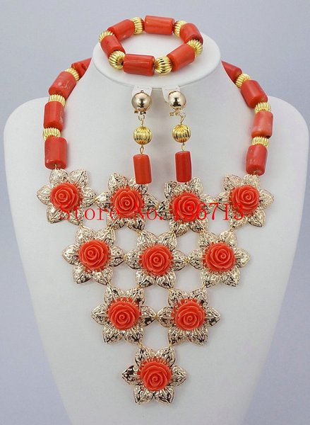 Nigerian Wedding African Beads Jewelry Set Coral Necklace 18K Gold Green Coral Beads Bridal Jewelry Sets Free Shipping GD101-2
