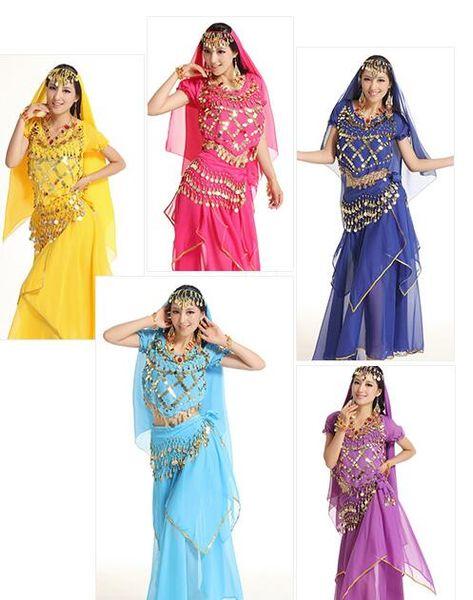 2016 Egyptian Belly Dance Costume 5Pcs TopSkirtWaist ChainVeil 여성 댄스 의류 Bellydance Costume Professionals 7 COLORS