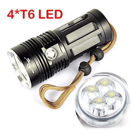 Epacket gratuita, Super Bright Skyray King 6000 lumen 4x CREE XM-L XML 4x T6 LED Torcia lampada ad alta potenza Torcia con batteria 4pcs 18650 (nero)