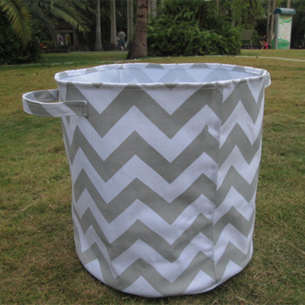 Wholesale Blanks Round Large Storage Bin Basket Fabric Organizer Laundry Toy Container with Top Handles and Free Shipping DOM106081