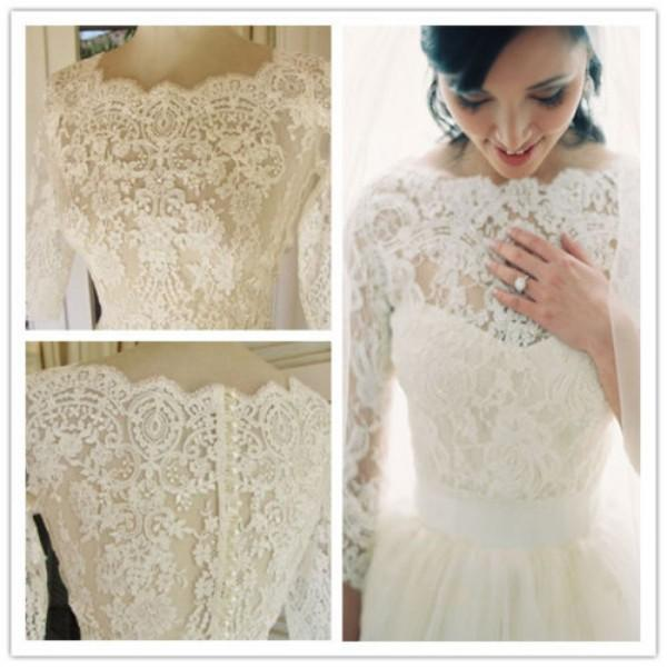 best selling Gorgeous 3 4 Sleeve Sheer Lace Pearl Bridal Wedding Jacket Shawl Bolero Wraps Wedding Accessories Vintage Lace Appliques