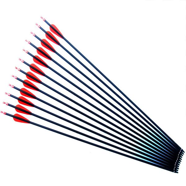 28/30/31 pulgadas OD 7.6 mm Tiro al aire libre Practique flechas de carbono con puntera de caza reemplazable para flecha de arco compuesto compuesto