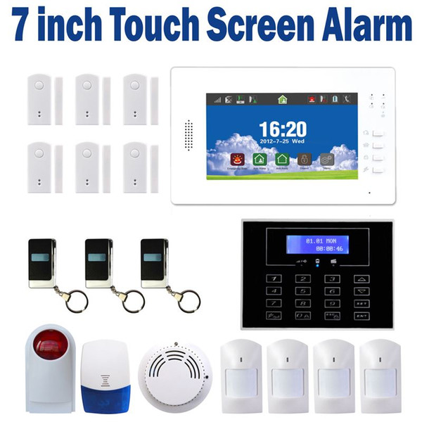 7-Zoll-LCD-Touchscreen Wireless GSM-Alarmsystem IOS und Android APP-Steuerung Smart Home Security Alarm