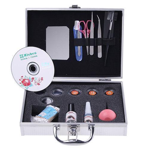 Wholesale-New Professional Portable Eyelashes Extension Kit False EyeLash Lashes Makeup Set with Silver Box Case Tool