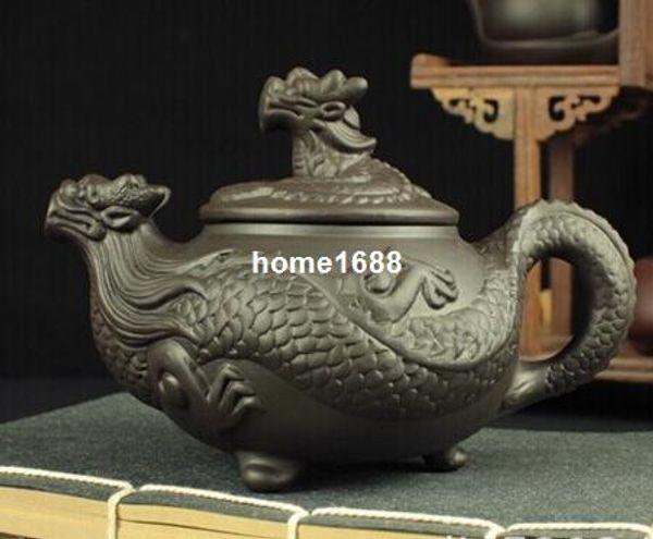 Set da tè cinese Kung Fu del drago, teiera di alta qualità Yixing Purple Clay Teiera, artigianato 450ml Teiera di grandi dimensioni