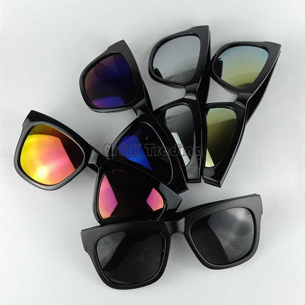 Cheap Fashion Big Frame Sunglasses Colorful Mirror Lenses 5 Colors Men And Women Sun Beach Glasses UV4000 Protection 20pcs/lot