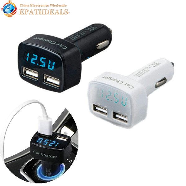 Wholesale- Intelligent 4 In 1 3.1A Dual USB Vehicle Car Charger Power Adapter Voltage Tester Auto Power Off with Blue Light