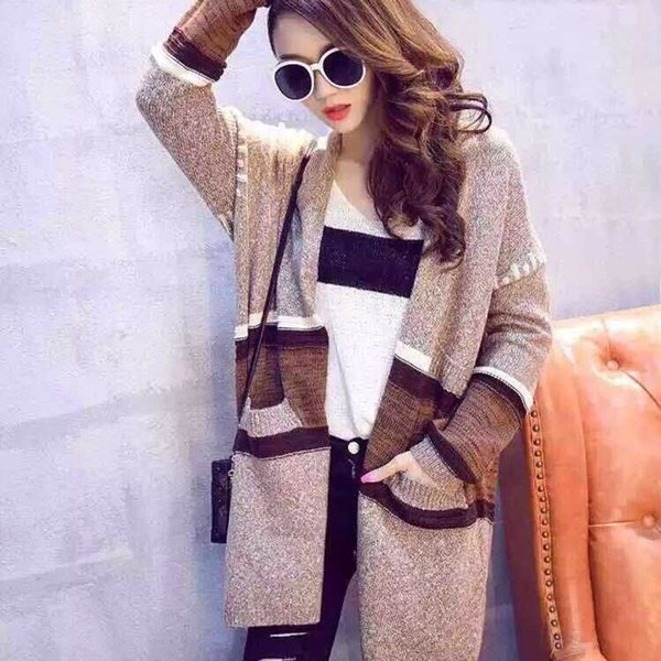 2015 Winter new Women Korean loose stitching long sections thick sweater cardigan jacket mixed colors wholesale women