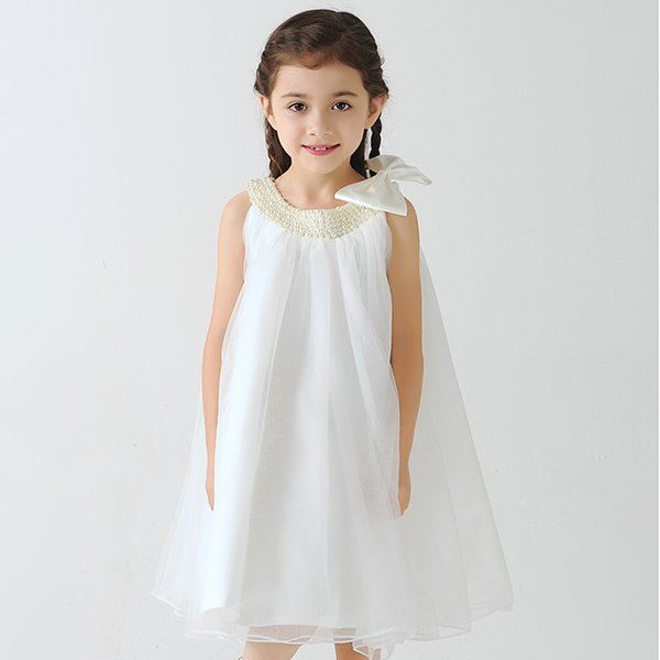Flower Girl Dresses Real Photo Knee Length Brithday Dress With Bow Kid's Ball Gowns Cute First Communion Custom Made BB52