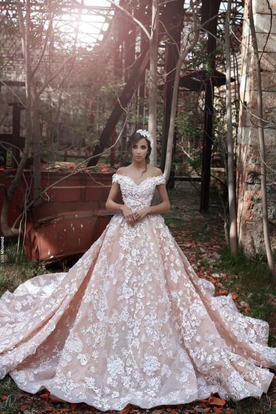 Romantische Blush Pink Brautkleider mit Spitze eine Linie aus Schulter Schatz Kapelle Zug Brautkleider Perlen formale Brautkleid Online