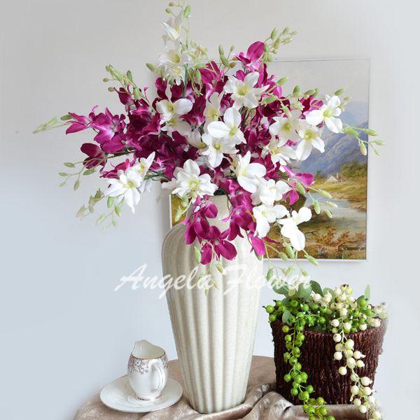 2015 NEW HOT 25pcs Europe style artificial Cymbidium silk decorative flower Bouquet for wedding party room decoration DIY VIVID peacock