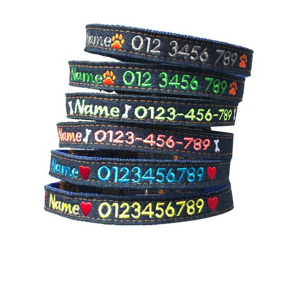 Benutzerdefinierte bestickt harte Jeans Hundehalsband, personalisierte Dog Tag Kette Telefon Name Id Kragen für große große kleine Frauen Pudel Hund