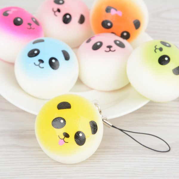4CM Soft Cute Jumbo Chubby Colorful Panda Squishy Bread Charms Cell Phone Strap Bag Phone Panda Bread Pendant Kid Toys
