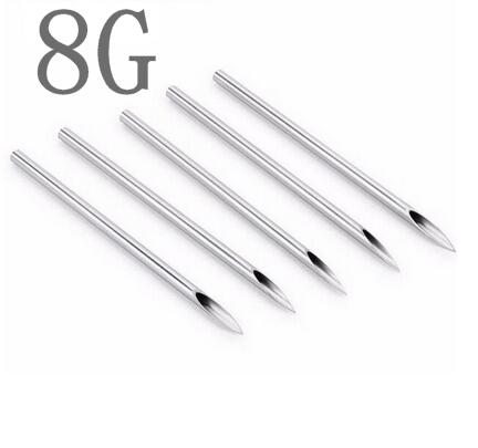 100PC 8G Piercing Needles 8G Sterile Disposable Body Piercing Needles 8G For Ear Nose Navel Nipple Free Shipping