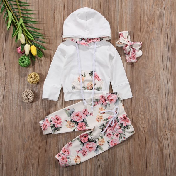 New Baby Infant Girls Clothing Set Flower Long Sleeve Hooded Tops +Pants+Headband Outfits 3pcs Set Floral Tracksuit Baby Girl Toddler 0-24M