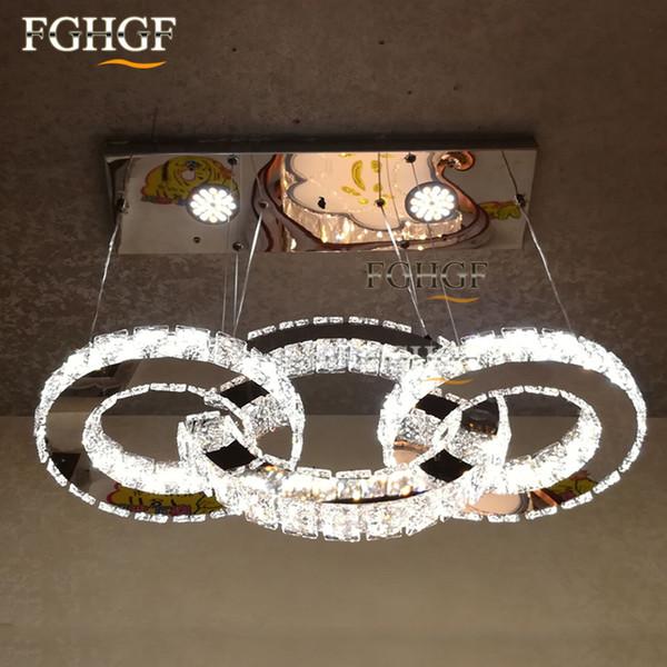 Modern LED Crystal Chandelier Light LED Diamond 3 Rings Chrom Lamp Mirror Finish Stainless Steel Room Hanging Lamp LED Lustres