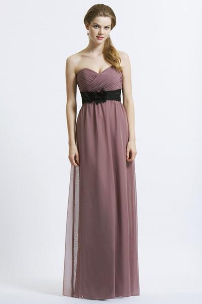 2016 New Cheap Hot Sale Fashion Free Shippping Charming Column Chiffon Pleated Sweetheart Flower Sash Floor-length Bridesmaid Dress(BD0654)