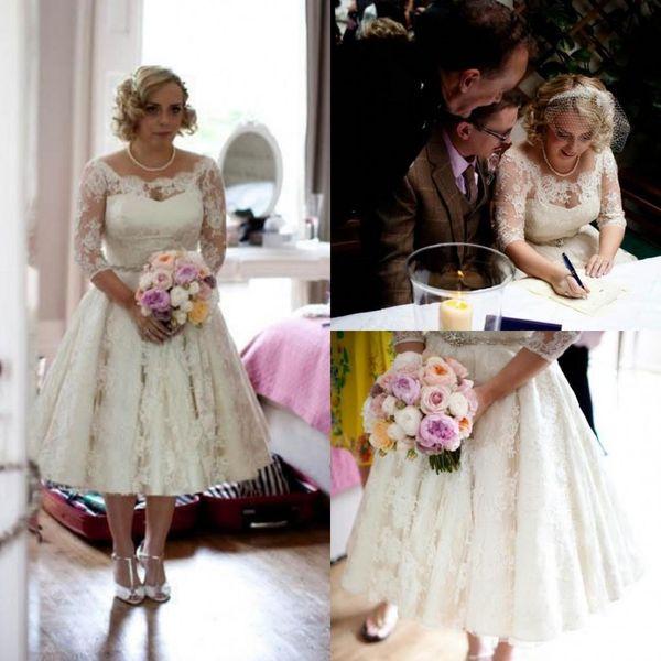 2016 Plus Size Full Lace Wedding Dresses Scoop Illusion Half Long Sleeve Bridal Gowns Beaded Tea Length Wedding Dress Custom Made