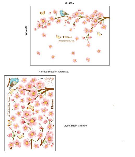 Pink Flower Blossom Tree and Birds Butterflies Wall Decal Sticker Lovely Girl Kids Home Decoration Wall Art Murals Poster
