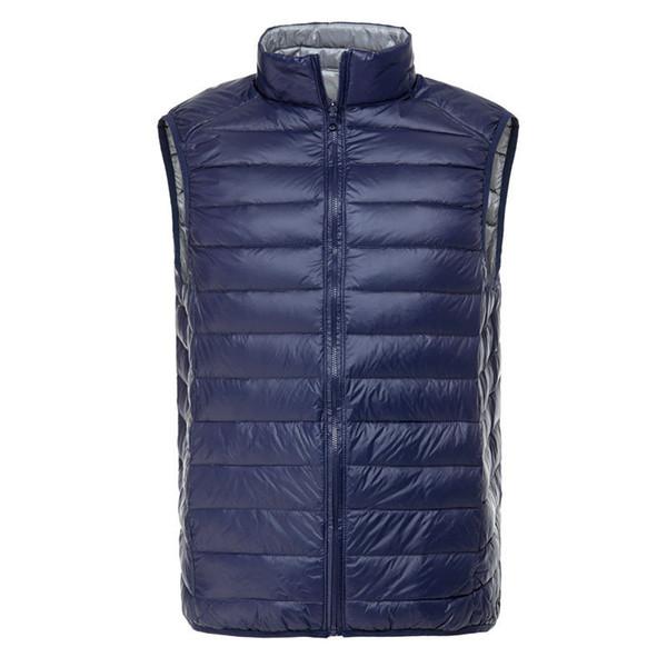top popular Fall-2015 Men's Ultra Light Down Double Sided Zipper Puff Gilet Vests Jackets Waistcoat Winter Jackets 5 Colors 2019