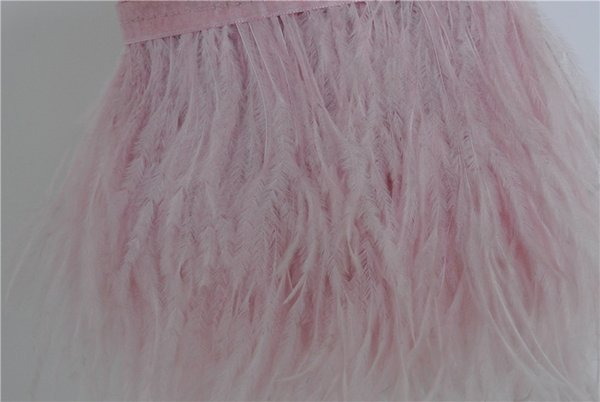 Free Shipping 10 yards light pink ostrich feather trimming fringe feather trim on Satin Header 5-6inch in width for dress decor