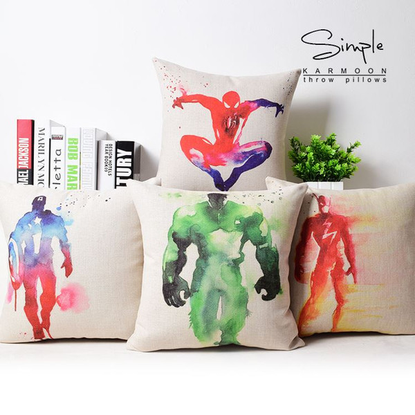 Hulk pillow cover, Avengers Captain America Thor iron man batman spiderman superman Flash throw pillow case wholesale