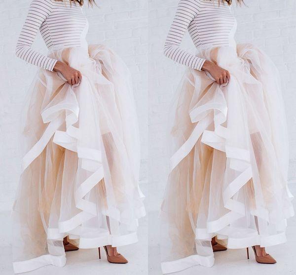 Yeni Tasarım Tül Maxi Etek Saten Kurdele ile Kenar Şampanya Ruffled Kadınlar için Şık Etekler Seksi Kadın Uzun Kış Etekler