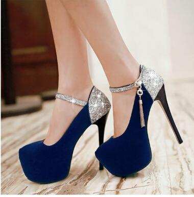 2015 spring autumn new Women's shoes waterproof cingulate red wedding shoe sexy stilettos sequins high heels 35-42 tk0756
