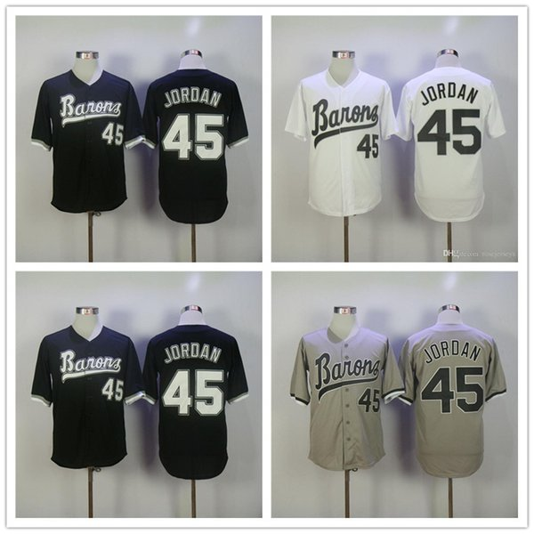 Cheap Mens Birmingham Barons #45 Michael MJ White Retro pullover gray road black vintage stitched Chicago baseball Jerseys S-3XL