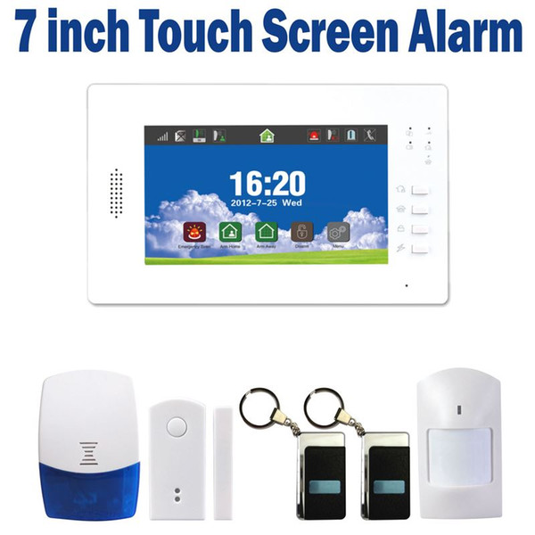 7 Inch touch screen wireless GSM alarm system home security alarm with backup battery support iOS and Android APP controlled