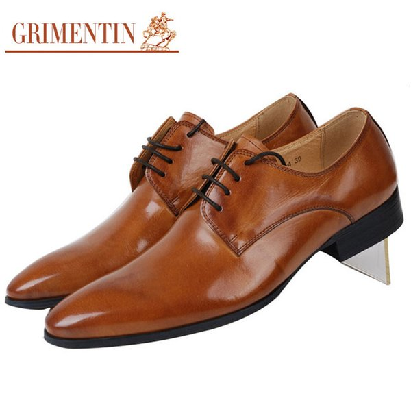 GRIMENTIN Hot sale Italian fashion designer mens dress shoes genuine leather orange formal business wedding male shoes for men oxford shoes
