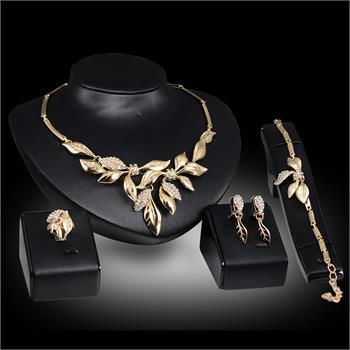 New Women 18K Gold Plated Crystal Leaves Necklace Ring Bracelet Earrings Wedding Party Fashion Jewelry Set