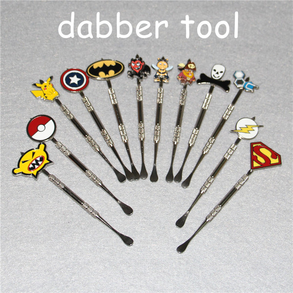 12colors Wax Dabber tool with fashion deign stickers Pokeball,Batman,Captain,superhero,Flash and Skull wax Dab tool 120mm Jars Tool