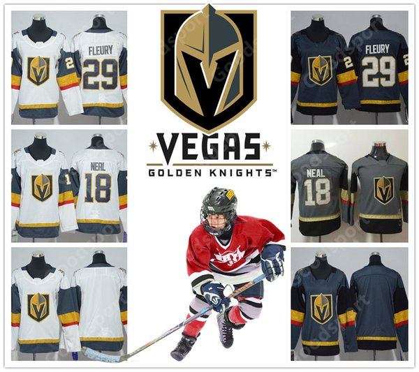 wholesale dealer 45ee3 ca744 2019 YOUTH NEW BRAND Vegas Golden Knights Stitched Stitched 29 Marc Andre  Fleury 18 James Neal KID Matthews Marner KID CHILDREN HOT SALE From ...