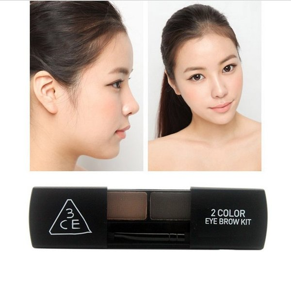 Wholesale-Brand 3CE Professional Eye Shadow Eyebrow  Kit 2 Colors Waterproof Eyebrow  Palette Korean Make Up Set