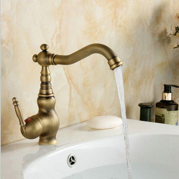 best selling Antique Brass Single Handle Bathroom Faucet Lavatory Vessel Sink Basin Mixer Tap Swivel Spout TAPS A-F008
