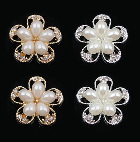 30% de descuento 25mm oro caliente flor de plata botón de la aleación de perlas arco del pelo botón del rhinestone adorno de espalda plana accesorio para el cabello DIY MF 30pcs / lot