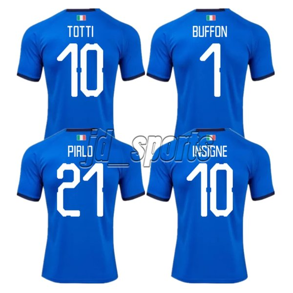 2018 World Cup Italy Home Adults Futbol Camisa Totti Pirlo Insigne Del Piero Soccer Jerseys Italia Football Camiseta Shirt Kit Maillot