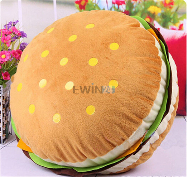 top popular Hot Selling!Stuffed Cushion Soft Plush Hamburger Kid Toy Doll King Burger Pad Cushion Pillow Free Shipping 2021
